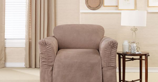 Sure Fit Slipcovers Soft Suede Cinched Arm One Piece Slipcovers New Slipcover Feature For Wide Or Narrow Slipcovers For Chairs Slipcovers Loveseat Slipcovers