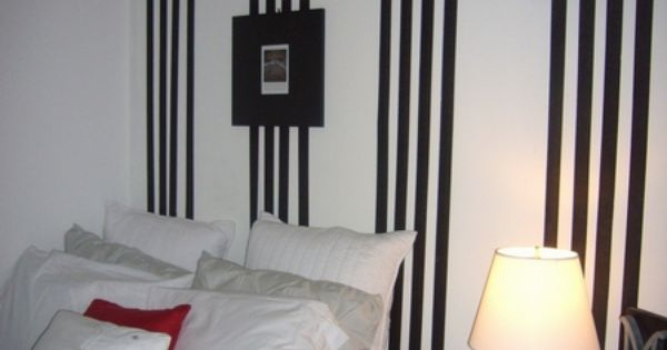 Elegant Girl Room with Black and White Vertical Striped ...