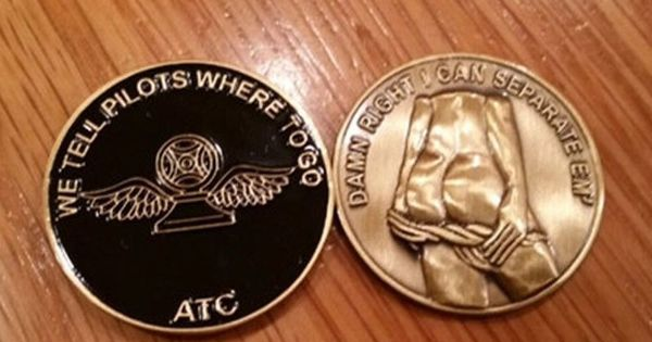 air traffic control challenge coin  black