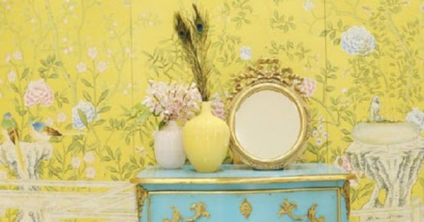 Turquoise Dresser and Yellow Wall