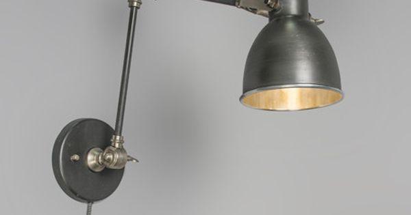 Wandlamp dazzle met arm oud grijs wandlampen binnenverlichting - Vertigo verlichting ...