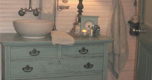 Repurposed Bathroom Ideas: Repurposed Cabinet -- Vanity