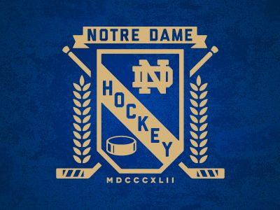 Notre Dame Hockey Badge Hockey Logos Sports Logo Design Notre Dame