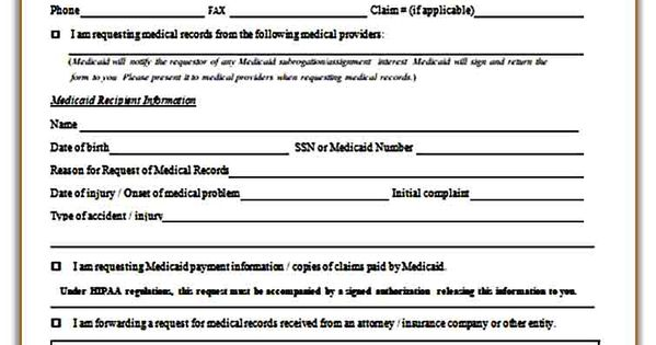 Sample Medical Records Request Form Medical Records Medical Medical Information