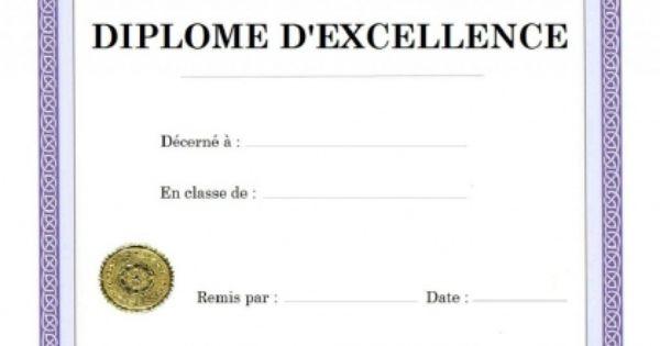 Imprimer diplome d 39 excellence etudes scolaires vierge a personnaliser buff pinterest - Diplome de cuisine a imprimer ...