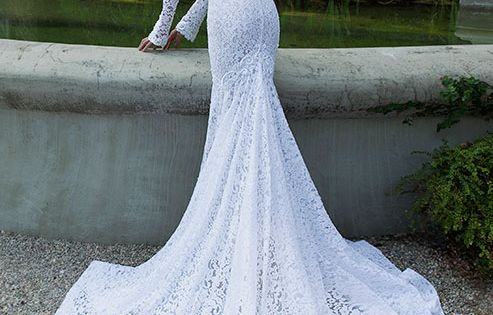 berta 2014 bridal collection long sleeve lace wedding dress back train-- THE