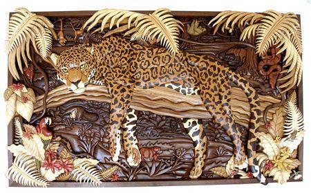 Intarsia Jaguar Jungle Mural Wooden Sculpture Jungle Mural Sculptures