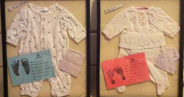 Shadow boxes with outfit your baby wore home, hospital bracelet, info card,