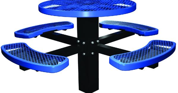 Round Single Post In-Ground Picnic Table features perforated metal ...