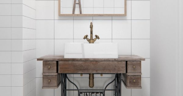 Support de machine coudre pour lavabo houzz via nat et for Machine a coudre nature et decouverte