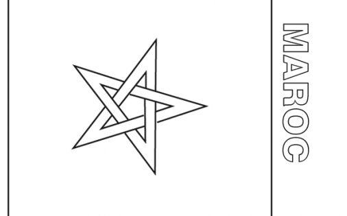 Coloriage du drapeau du maroc t te modeler - Drapeau du maroc a imprimer ...