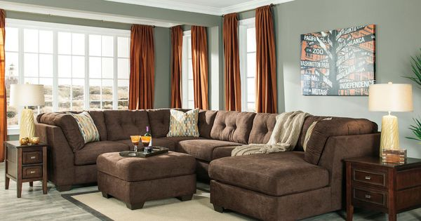 Taylor Large Modern Brown Microfiber Living Room Sofa Couch Chaise Sectional