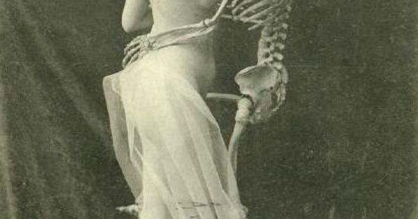 Vintage Photo Of Girl Dancing With Skeleton Little Bit