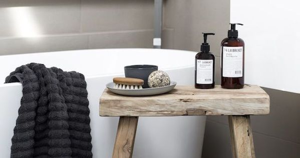 Small rustic zen style stool used for accessories in white for Small bathroom zen style