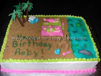 Peachy Coolest Beach Cake Ideas And Photos Beach Cakes Cool Birthday Funny Birthday Cards Online Alyptdamsfinfo