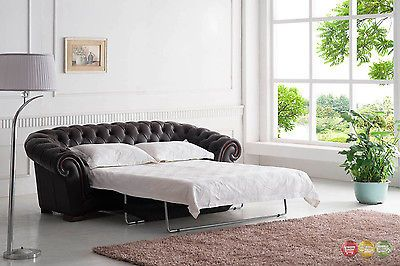Brown Italian Leather Button Tufted Chesterfield Pull Out Sleeper
