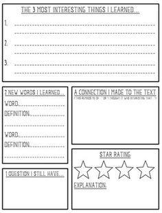 Non Fiction Book Report Reading Classroom Book Report