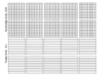 Place Value Decimal Grids Tens Ones Tenths Hundredths 5 Nbt B 7 Dividing Decimals Decimals Place Value Grid