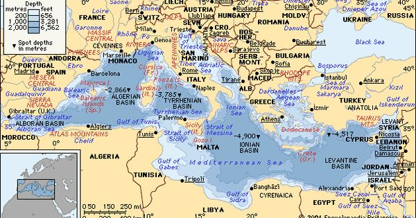 Sea depth map of the Mediterranean with countries ...