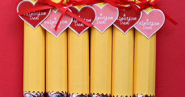 valentine ideas with kids | Valentine's Day Candy Pencils Craft