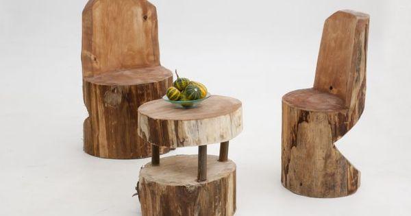 C mo crear una silla con un tronco de madera mesas y ideas for Silla escalera plegable planos