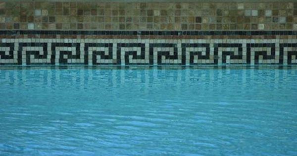 greek key swimming pool tiles