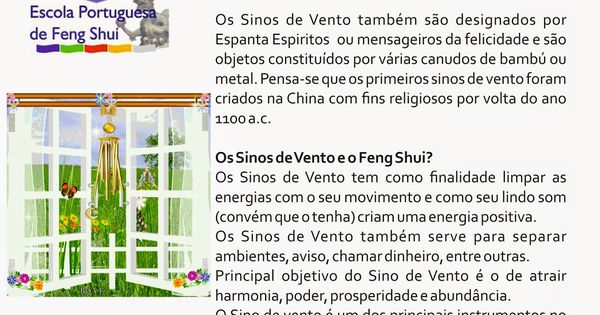 escola portuguesa de feng shui sinos de vento feng shui pinterest eingang und mappen. Black Bedroom Furniture Sets. Home Design Ideas