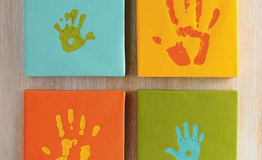 Family Hand Prints - Canvas. Wall art for the playroom?