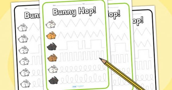 Fine Motor Control Worksheets : Bunny hop pencil control worksheets easter fine motor