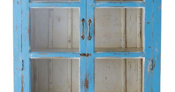 mueble decapado vitrina azul avignon 180x105x40 cm. Black Bedroom Furniture Sets. Home Design Ideas