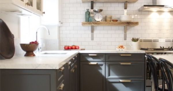 grey cabinets, white marble, white subway tiles, white cabinets. nice.