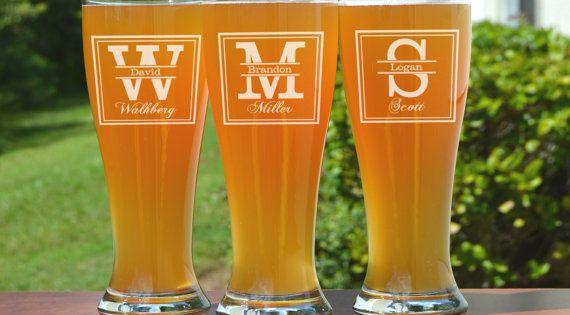 Custom Groomsmen Beer Glasses Gifts The General Design Engraved Personalized Beer Mug 16 oz
