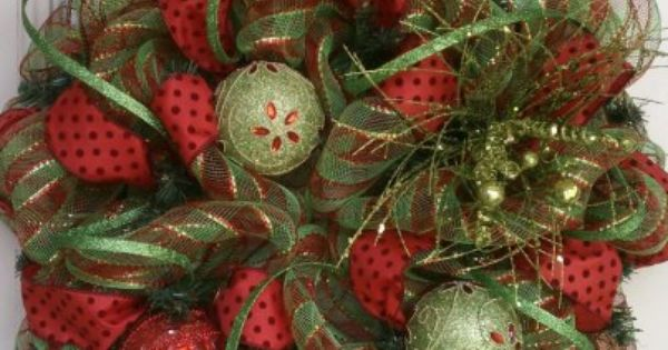 Precious Christmas mesh wreath from Southern Wreath Designs