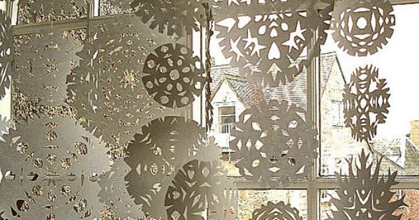 "snowflake curtain, cute idea for the ""winter wonderland"""