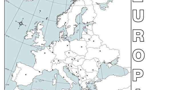 Mapa poltico mudo de Europa para imprimir en DIN A4  Geografa