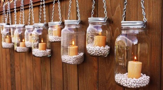 Garden Candles -- to hang or not to hang? Imagine for a BBQ or along a garden path or along a wedding aisle at sunset. Could also use coffee beans for brown or lentils for green or kidney beans for a deep red.