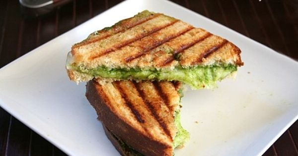 Grilled Pesto and Cheese Sandwich - a spiced up version of ...