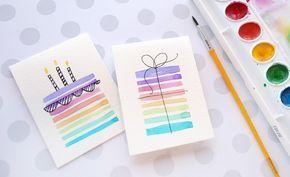 Geburtstagskarten Basteln Malen Aquarell Farben Regenbogen