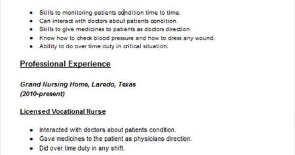vocational nurse lvn resume sample resume examples pinterest