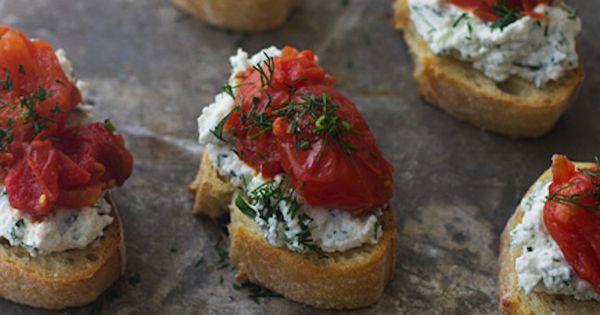 Burst Cherry Tomato and Herbed Ricotta Crostini   Recipe ...