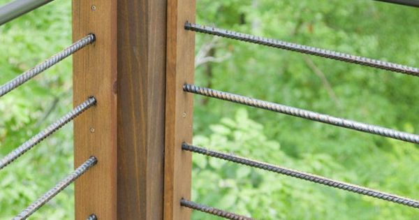 Post With Steel And Rebar Railing For The Home