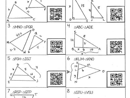 Similar Triangles Worksheet With Qr Codes Free Geometry Worksheets Triangle Worksheet Teaching Geometry Congruent and similar figures worksheets