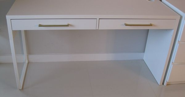 ikea micke desk hack google consider adding drawer pulls in style of dressers to connect. Black Bedroom Furniture Sets. Home Design Ideas