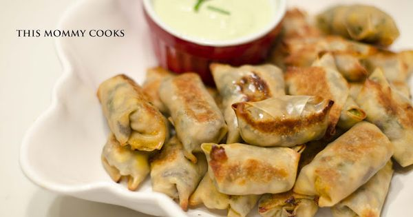 This Mommy Cooks: Baked Southwestern Chicken Egg Rolls with Avocado Ranch Dipping