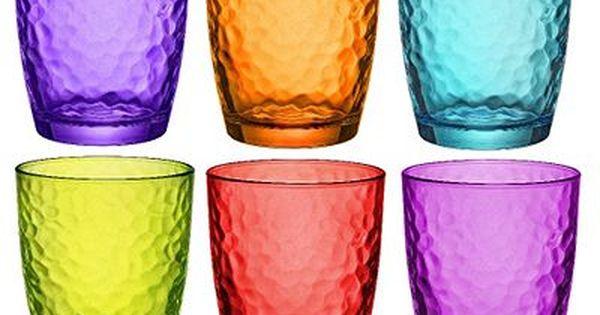 Bormioli Rocco Palatina Coloured Tumbler Glasses 320ml Multi Coloured X 6 Colored Drinking Glasses Colored Wine Glasses Bormioli Rocco