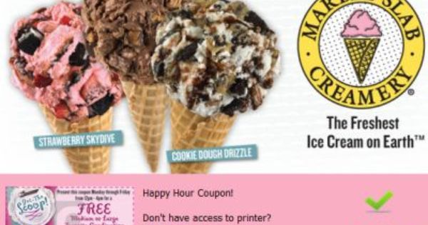 Happy Hour Coupon For Free And Discounted Marble Slab Creamery Ice