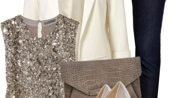 "Fashion Style Combination - A white blazer and ""bling,"" top with beige"