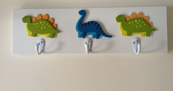 Boys dinosaur theme 3 wall hooks t rex dinosaurs boy for Wall hooks for kids room