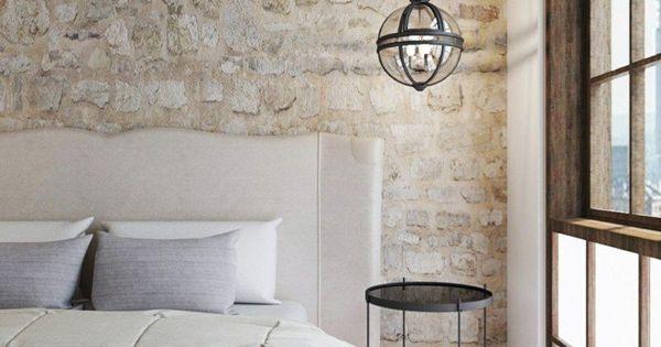 wohnideen schlafzimmer landhausstil wei er teppich steinwand h ngeleuchte interior pinterest. Black Bedroom Furniture Sets. Home Design Ideas