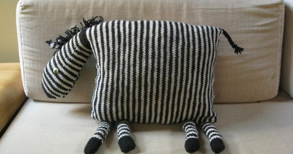 Cute Zebra Pillow : Ridiculously cute zebra knit pillow, sew it with striped fabric instead Knitting Pinterest ...